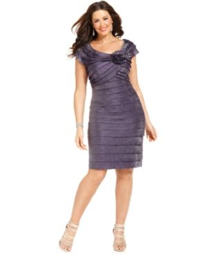 London Times Plus Size Dress - mauve Rosette Cocktail Dress.jpg