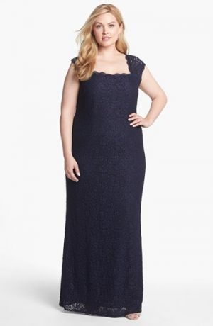 Navy Adrianna Papell Back Cutout Lace Column Gown Plus Size evening dresses.jpg