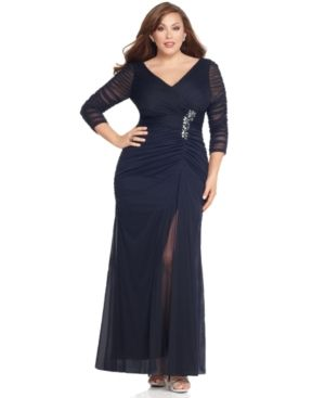 Navy Adrianna Papell Plus Size Dress - Three Quarter Sleeve V-Neck Ruched Evening Gown.jpg