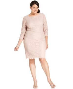 Off white Adrianna Papell Plus Size Dress - Three-Quarter-Sleeve Lace.jpg