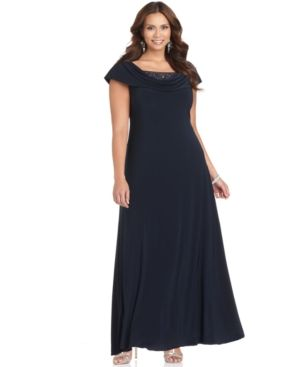 Patra Plus Size Dress - Cap Sleeve Beaded Cowl Neck Evening Gown.jpg