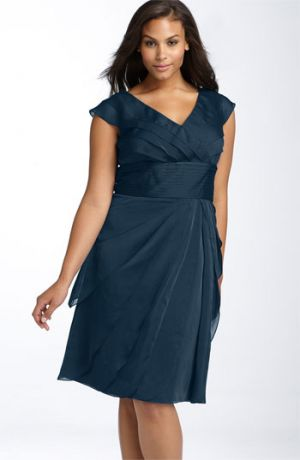 Plus size cocktail and evening dresses - Adrianna Papell Chiffon Petal Gown - Plus Size Navy.jpg