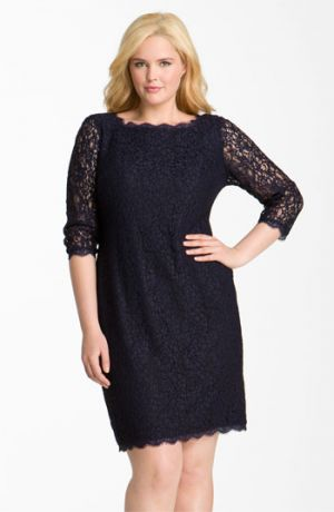 Plus size cocktail and evening dresses - Adrianna Papell Lace Overlay Sheath Dress - Navy.jpg