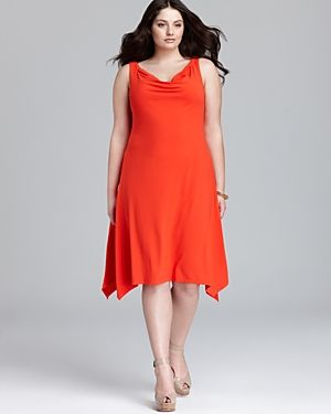 Plus size cocktail and evening dresses - Eileen Fisher Plus Cowl Neck Dress.jpg