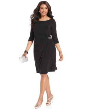 Plus size cocktail and evening dresses - Jones New York Plus Size Dress - Three-Quarter-Sleeve Jeweled.jpg