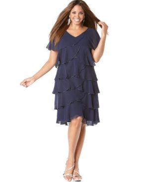 Plus size cocktail and evening dresses - Patra Plus Size Dress - Beaded Tiered Evening Dress.jpg