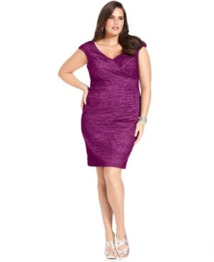 Plus size cocktail and evening dresses - SL Fashions Plus Size Dress - Cap-Sleeve Textured Cocktail Dress.jpg