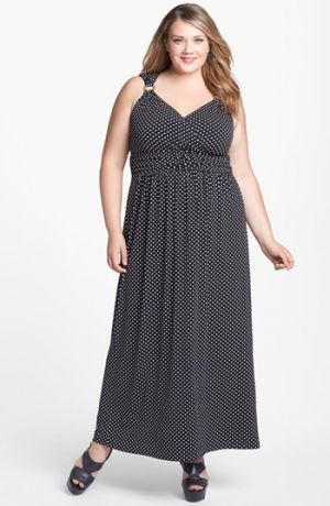 Plus size cocktail and evening dresses - Vince Camuto Polka Dot Maxi Dress - Plus Size.jpg