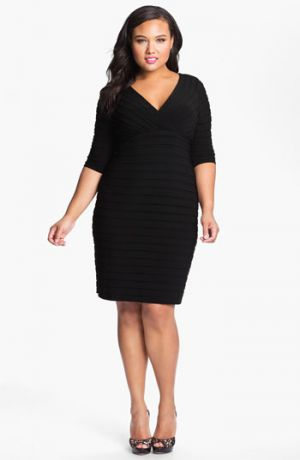 Plus size cocktail dress - Adrianna Papell Pleated Jersey Sheath Dress.jpg