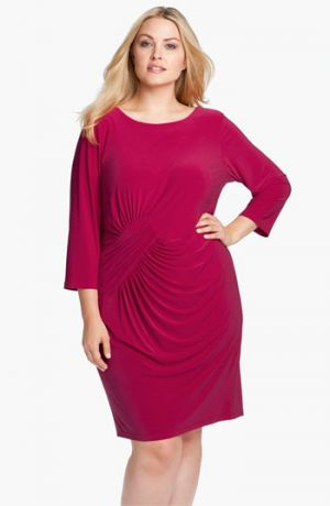 Plus size cocktail dresses with sleeves - Adrianna Papell Asymmetrically Ruched Jersey Dress - Plus Size - Wildberry.jpg