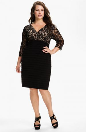 Plus size cocktail dresses with sleeves - Adrianna Papell Lace Bodice Banded Sheath Dress - Plus Size Black Nude.jpg