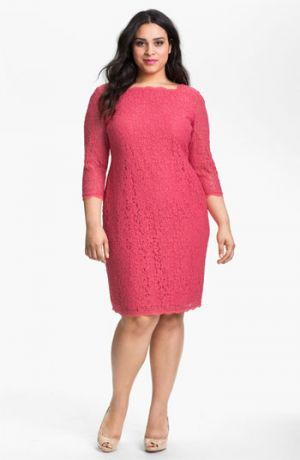 Plus size cocktail dresses with sleeves - Adrianna Papell Lace Overlay Sheath Dress - Plus Size in Coral pink.jpg