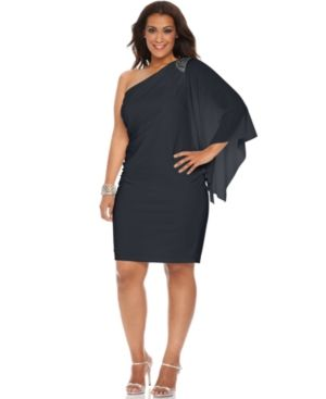 Plus size cocktail dresses with sleeves - R&M Richards - Three Quarter Flutter Sleeve One Shoulder Beaded Cocktail Dress.jpg