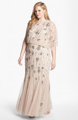 Plus size models - Adrianna Papell Beaded One Shoulder Gown - Plus Size in Blush.jpg