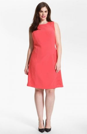 Plus size models - Adrianna Papell Colorblock Lace & Crepe Dress - Plus Size Pink.jpg