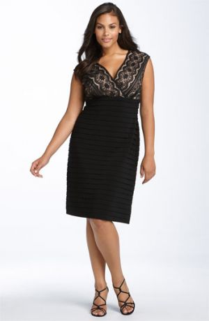 Plus size models - Adrianna Papell Lace Bodice Banded Dress - Plus Size Black.jpg