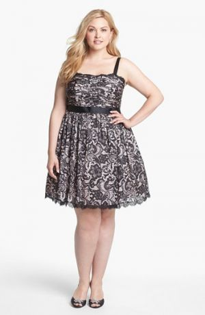 Plus size models - Adrianna Papell Lace Print Tulle Fit & Flare Dress - Plus Size.jpg