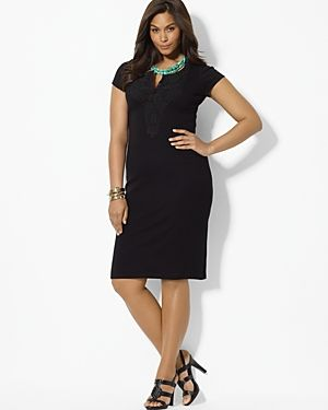 Plus size models - Black Lauren Ralph Lauren Plus Cotton Scoopneck Dress.jpg