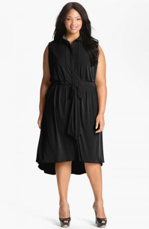 Plus size models - Black Vince Camuto Sleeveless Shirtdress - Plus Size.jpg
