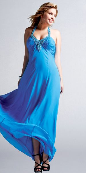 Plus size models - Blue Celebrity Inspired Chiffon Plus Size Evening Dresses by Faviana.jpg