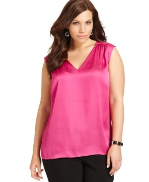 Plus size models - Jones New York Plus Size Top in pink - Sleeveless Satin Shell.jpg