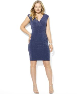 Plus size models - Lauren Ralph Lauren Plus Size Dress - Blue Cap-Sleeve Ruched Metallic.jpg