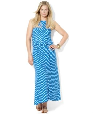 Plus size models - Lauren Ralph Lauren Plus Size Dress - Sleeveless Chevron Halter Maxi.jpg
