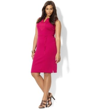 Plus size models - Pink Lauren Ralph Lauren Plus Size Dress - Sleeveless Tunic Linen.jpg