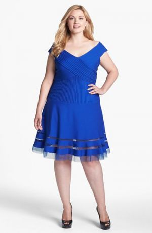 Plus size models - Tadashi Shoji V-Neck Tulle Hem Fit & Flare Dress Plus Size.jpg