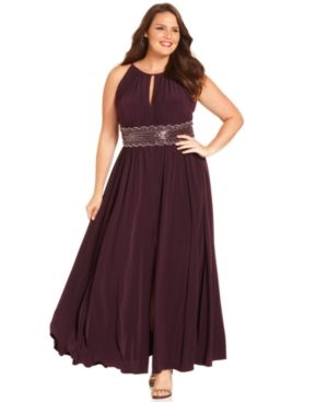 R&M Richards Plus Size Dress - Sleeveless Beaded Evening Gown.jpg
