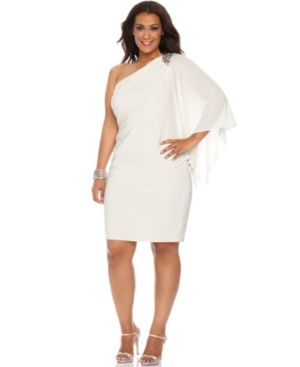 R&M Richards Plus Size Dress - White Flutter Sleeve One Shoulder Beaded Cocktail Dress.jpg