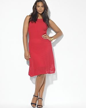 Red Lauren Ralph Lauren Plus High-Twist Cotton Dress.jpg