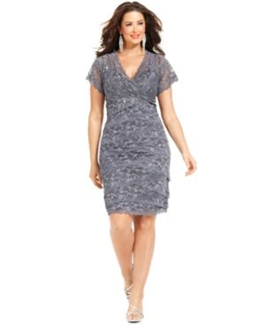 Silver grey Marina Plus Size Dress - Cap Sleeve Lace Cocktail Dress.jpg