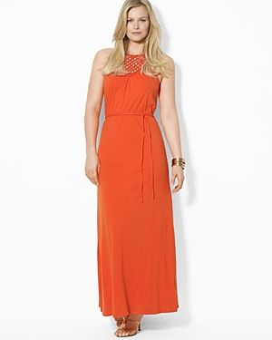 Tangerine Lauren Ralph Lauren Plus Macrame Maxi Dress.jpg