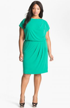 Turquoise green Vince Camuto Pleated Blouson Dress - Plus Size.jpg