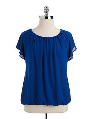 Vince Camuto Plus Pleated Elastic-Hem Top in blue.jpg