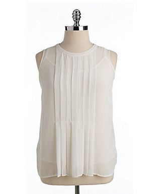White Vince Camuto Plus Pleated Front Two-in-One Sleeveless Top.jpg