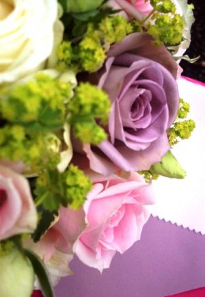 Floral fabric designs in fashion and home decor - Mauve roses in bouquet.jpg