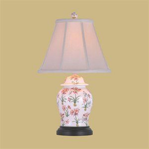 Floral fabric designs in fashion and home decor - Oriental Furniture Chinese Porcelain Lamps Porcelain floral design.jpg