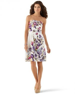 Floral in fashion - Purple Strapless Cotton Floral Dress by White House.jpg