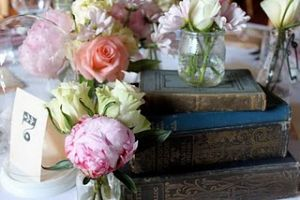 Floral photos - Floral designers - Peonies and roses on table with books.jpg