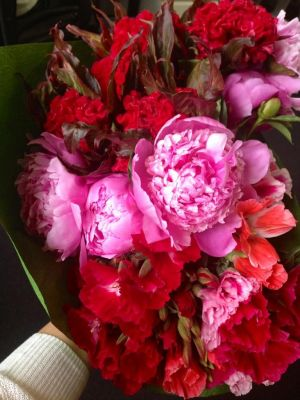 Luscious flowers to Lorna Roberts - pinks and reds incl peonies.jpg