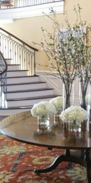 Using floral in the home and in fashion - Peonies on hall table.jpg