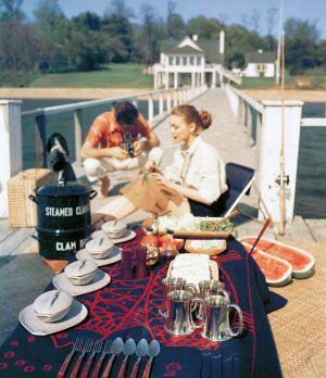 Picnic areas - John Rawlings - picnic on dock - August 1952 House and Garden.jpg