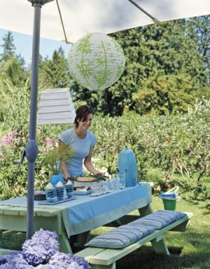 Picnic table designs - Via Countryliving.com - blue picnic with paper lantern.jpg
