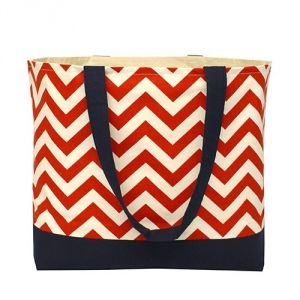 red and white chevron beach picnic tote bag.jpg