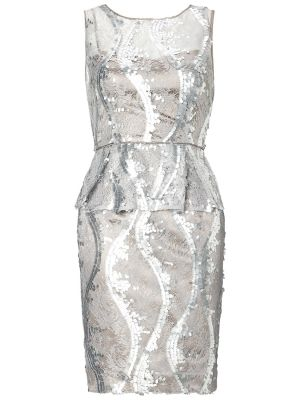 Cheap wedding dresses - Adrianna Papell Lace Cocktail Dress Silver.jpg