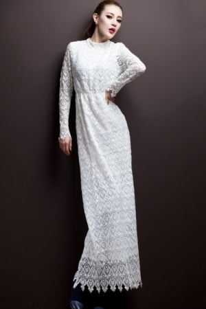 Dream wedding on a budget - Oasap Long White Elegant Hollowed-out Lace Dress.jpg