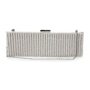 Get married in - MOYNA Bags Long Slim Framed Clutch White Silver.jpg