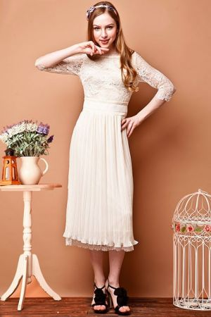 My wedding - bride to be - Luxurious Lace Bound Waist Pleated Dress with Cropped Sleeves - Oasap.jpg